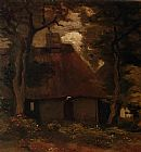 Vincent van Gogh Cottage and Peasant Woman under the Trees painting