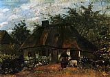 Cottage Canvas Paintings - Cottage and Woman with Goat