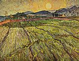 Vincent van Gogh Enclosed Field with Rising Sun painting