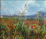 Vincent Van Gogh Wall Art - Field with Poppies 2