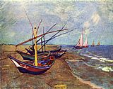 Famous Boats Paintings - Fishing Boats on the Beach at Saints-Maries