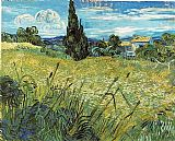 Field Canvas Paintings - Green Wheat Field with Cypress