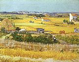 Harvest at La Crau_ with Montmaiour in the Background