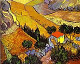 Vincent van Gogh Landscape with House and Laborer painting