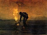 Vincent van Gogh Peasant Burning Weeds painting