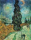 Vincent van Gogh Road with Cypress and Star painting