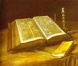 Famous Life Paintings - Still Life with Open Bible