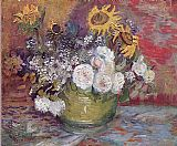 Still life with roses and sunflowers