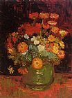 Vincent van Gogh Vase with Zinnias painting