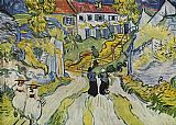figures Canvas Paintings - Village Street and Stairs with Figures