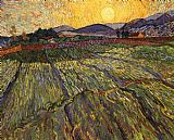 Vincent van Gogh Wheat Field with Rising Sun painting