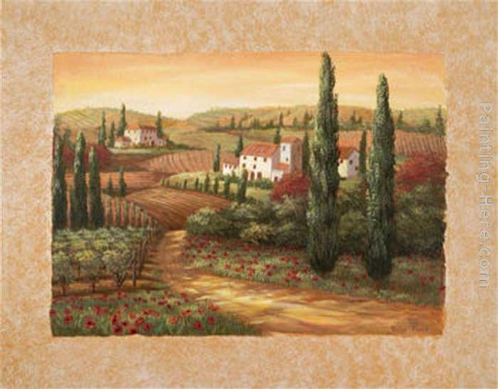 Vivian Flasch Tuscan Sunset II painting | framed paintings for sale