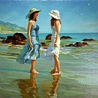 Sur Canvas Paintings - Dames Sur La Plage
