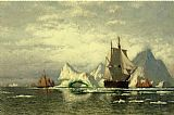 William Bradford Canvas Paintings - Arctic Whaler Homeward Bound Among the Icebergs