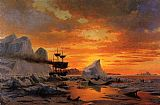 William Bradford Ice Dwellers Watching the Invaders sunset painting