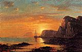 William Bradford Seascape, Cliffs at Sunset painting