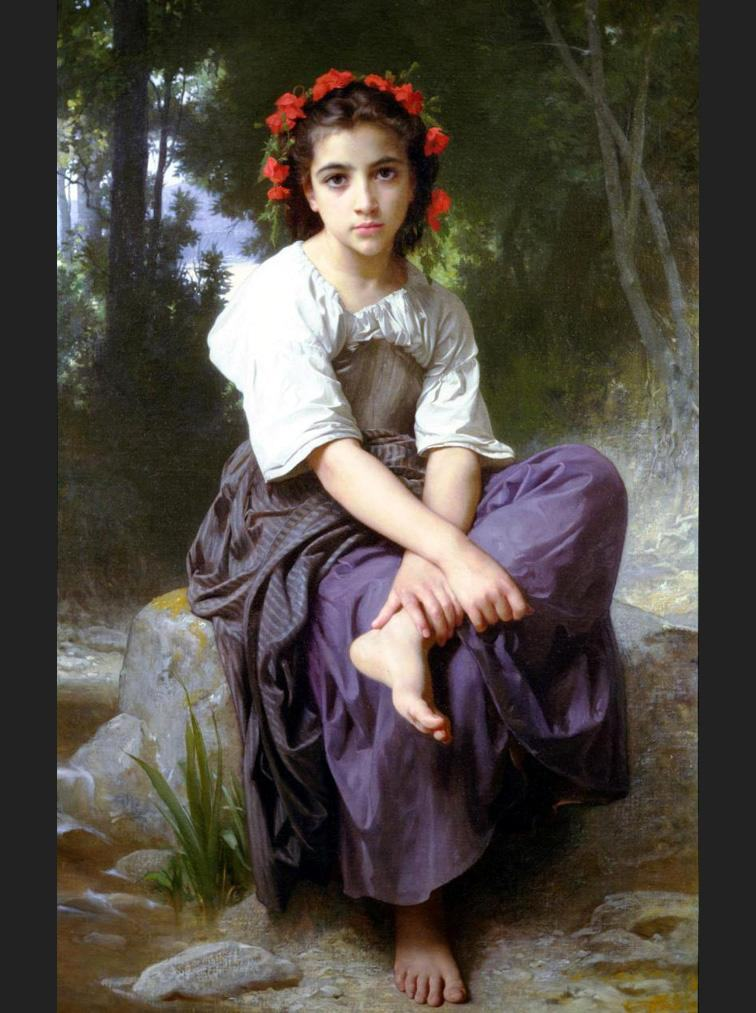 William Bouguereau At the Edge of the Brook