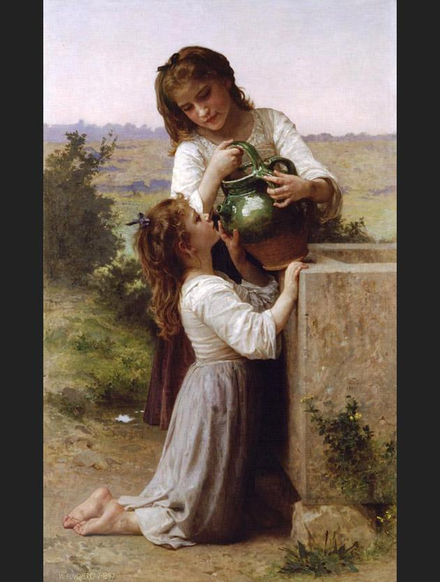 William Bouguereau At the Fountain