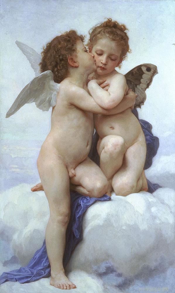 William Bouguereau Cupid and Psyche as Children