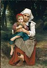 William Bouguereau Famous Paintings - Breton Brother and Sister