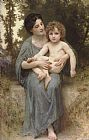 William Bouguereau Famous Paintings - Little brother