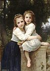 William Bouguereau Famous Paintings - Two Sisters