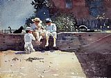 ten Canvas Paintings - Boys and Kitten