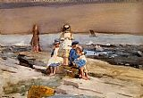 beach Canvas Paintings - Children on the Beach