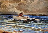 Winslow Homer Rowing at Prout's Neck painting