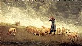 Shepherdess Tending Sheep