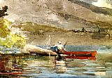 Red Canvas Paintings - The Red Canoe i