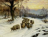 Wright Barker - A Shepherd and his Flock on a Path in Winter