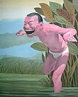 Yue Minjun Canvas Paintings - Free and At Leisure-6
