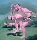 Yue Minjun Free and At Leisure-9 painting