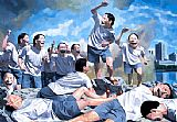 Yue Minjun Famous Paintings - Freedom Leading the People