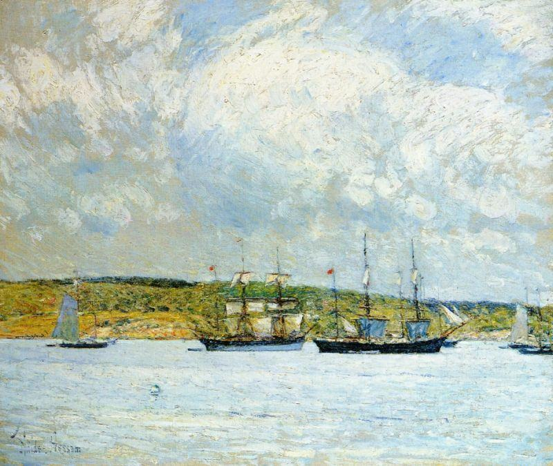childe hassam A Parade of Boats