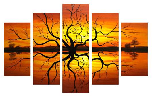 Landscape sunset reflection painting framed paintings for sale