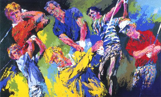 leroy neiman golf winners painting framed paintings for sale. Black Bedroom Furniture Sets. Home Design Ideas