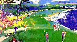 Leroy Neiman Canvas Paintings - 18th at Pebble Beach