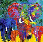Leroy Neiman Elephant Charge painting