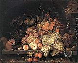 Abraham Mignon - Fruit Still-Life with Squirrel and Goldfinch