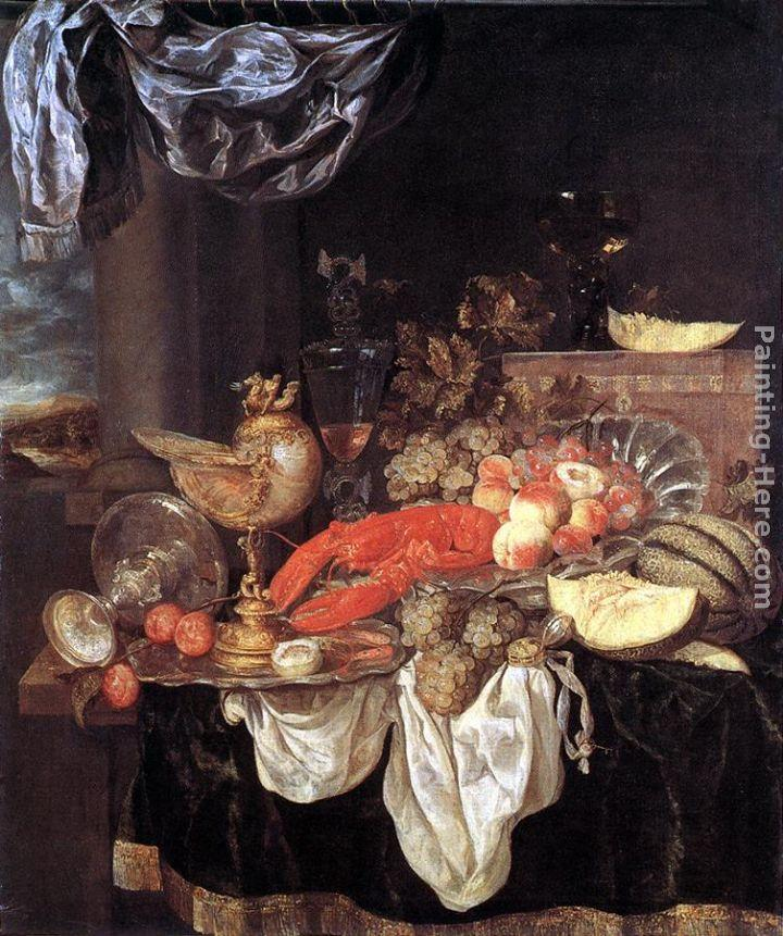 Abraham van Beyeren Large Still-life with Lobster