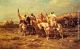 Adolf Schreyer - Arab Horsemen by a Watering Hole