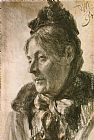Adolph von Menzel - The Head of a Woman
