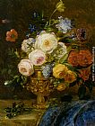 Adriana-Johanna Haanen - A Still Life with Flowers in a Golden Vase