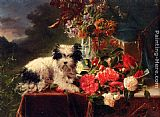 Adriana-Johanna Haanen - Camellias And A Terrier On A Console