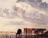 Aelbert Cuyp Canvas Paintings - Cows in a River