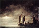 Aelbert Cuyp Canvas Paintings - Dordrecht Harbour by Moonlight