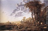 Aelbert Cuyp Canvas Paintings - Evening Landscape with Horsemen and Shepherds