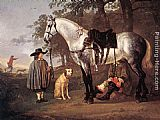 Aelbert Cuyp Canvas Paintings - Grey Horse in a Landscape